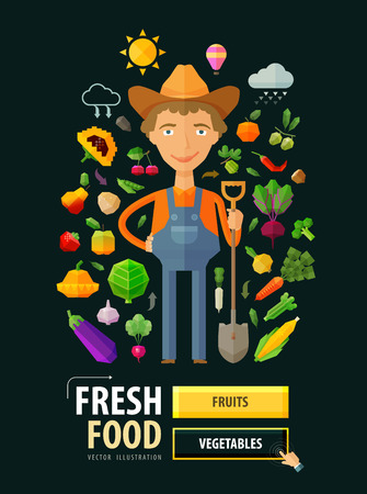 mellow: a farmer with a shovel in his hand. vector illustration