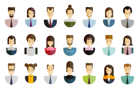 director de escuela: colección de iconos. la gente en un fondo blanco. ilustración vectorial Vectores