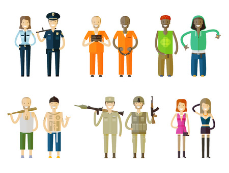inmate: collection of icons. people on a white background. vector illustration