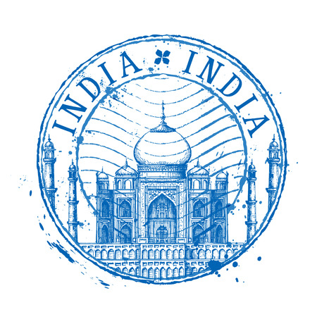 wonders: Taj Mahal in India on a white background. vector illustration