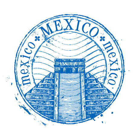 Mexican pyramid in Mexico on a white background. vector illustration