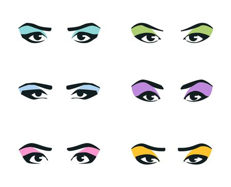 eyes icons set on white background. vector illustration Иллюстрация