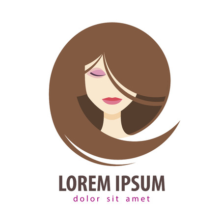 toupee: head of a beautiful girl on a white background. vector illustration