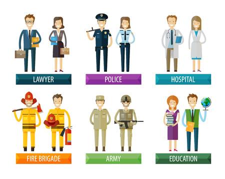 profesiones: colección de iconos. la gente en un fondo blanco. ilustración vectorial Vectores