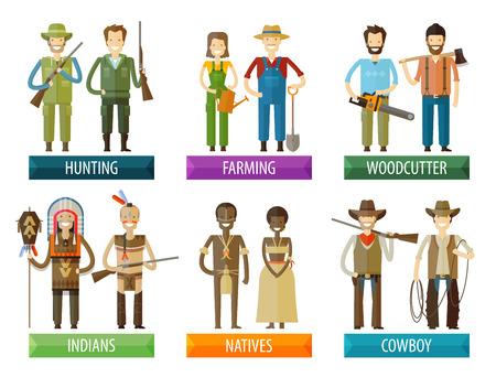 cazador: colección de iconos. la gente en un fondo blanco. ilustración vectorial Vectores