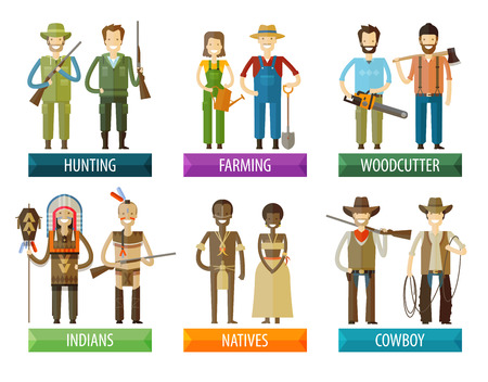 cowboy cartoon: collection of icons. people on a white background. vector illustration