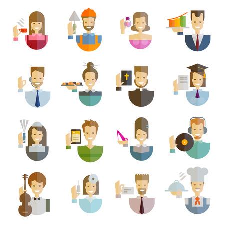 puesto de trabajo: colección de iconos. la gente en un fondo blanco. ilustración vectorial Vectores