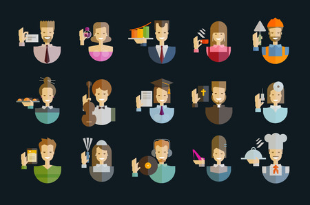 clergyman: collection of icons. people on a dark background. vector illustration