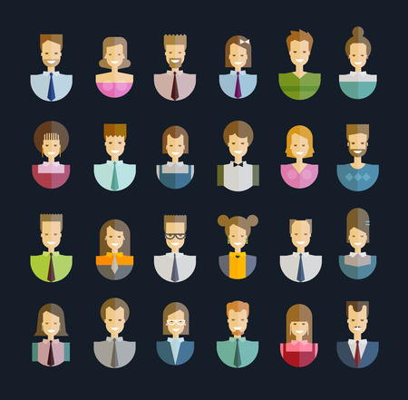 collection of icons. people on a dark background. vector illustration