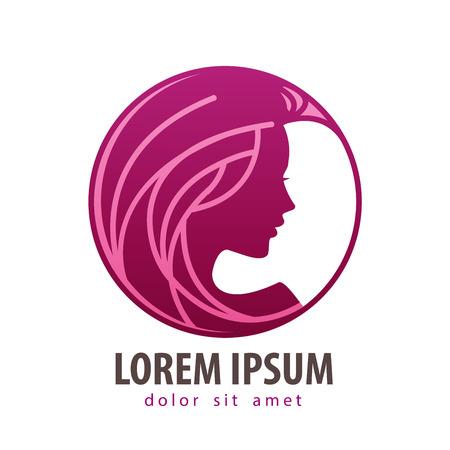 femme dessin: profil de belle fille dans le cercle sur fond blanc