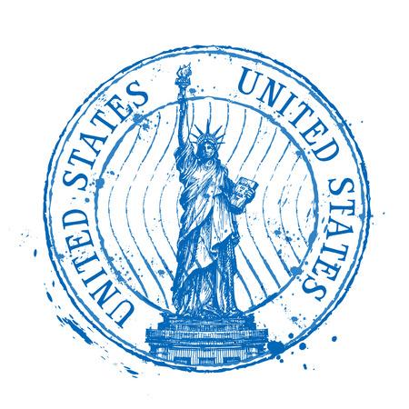 standbeeld van de vrijheid op een witte achtergrond. vector illustratie Stock Illustratie