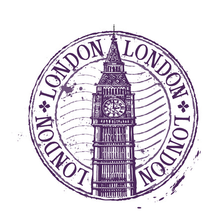 london big ben: historic architecture on a white background. vector illustration Illustration