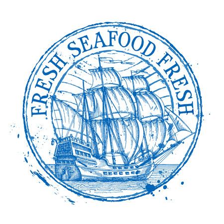 mariscos: barco sobre un fondo blanco. ilustración vectorial Vectores