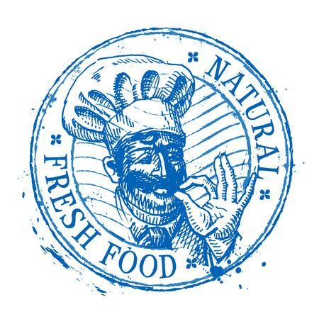 cocinero: cocinero en el sombrero sobre un fondo blanco. ilustraci�n vectorial Vectores