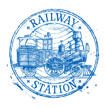 retro steam train on a white background. vector illustration Illustration