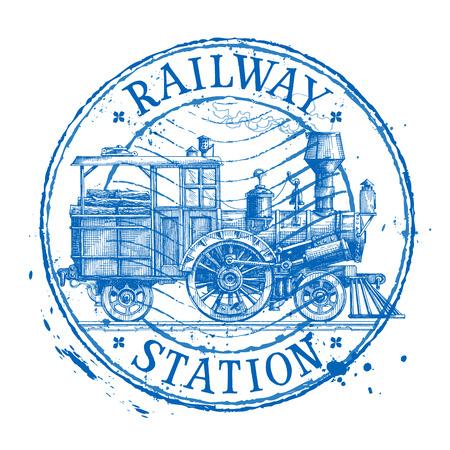 estacion de tren: tren de vapor retro sobre un fondo blanco. ilustración vectorial