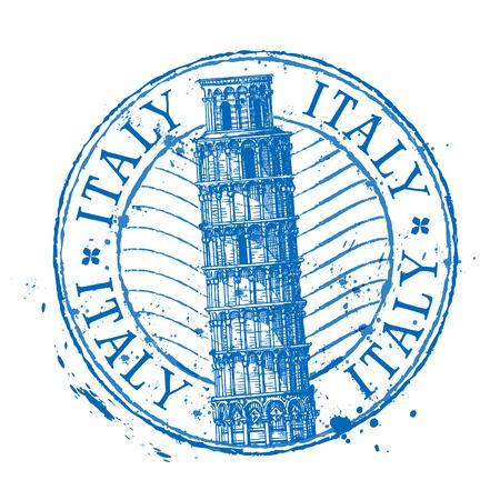 sello: torre inclinada de Pisa en Italia sobre un fondo blanco. ilustración vectorial