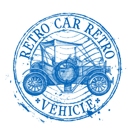 road trip: retro car on white background. vector illustration