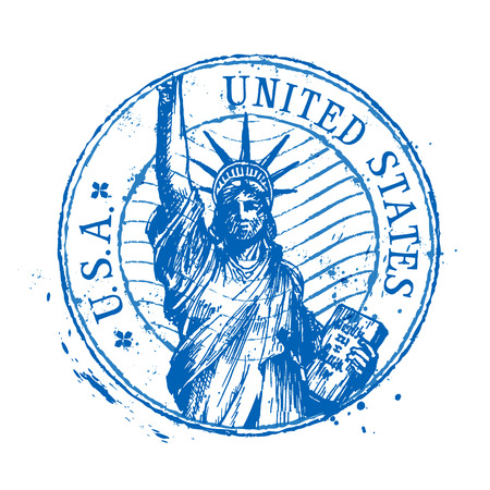 united states: statue of liberty in New York on a white background. vector illustration