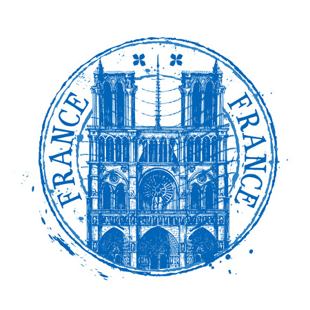 notre: historic architecture of France white background. vector illustration