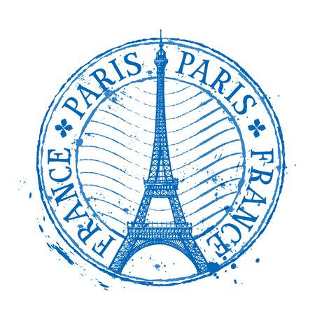 sello: Torre Eiffel en París en un fondo blanco. ilustración vectorial