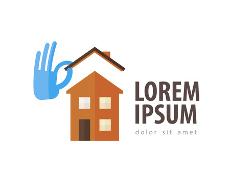 house and hand on a white background. vector illustration Illustration