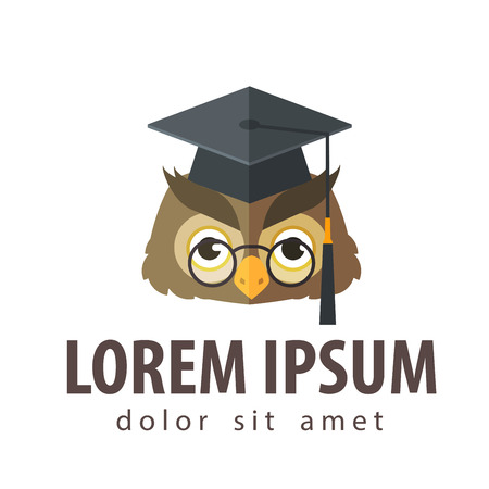 higher learning: owl head in the header of the graduate on a white background. vector illustration