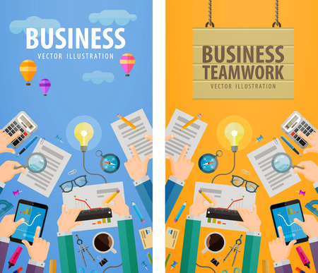 treaty: business. business people and office. vector illustration