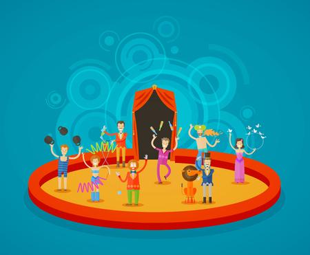 Zirkusartisten auf die Arena. Illustration