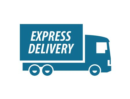 shipment: delivery. truck on a white background. illustration