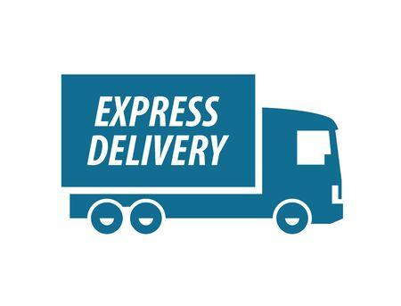 motor de carro: la entrega. camión sobre un fondo blanco. ilustración