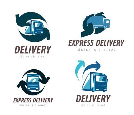 motor de carro: la entrega. icono de camión fijó en el fondo blanco. ilustración Vectores