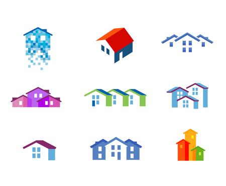 albañil: construcción. casa residencial en un fondo blanco. ilustración Vectores