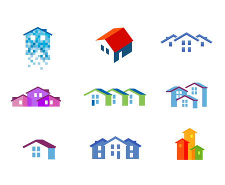 builder symbol: construction. residential house on a white background. illustration Illustration