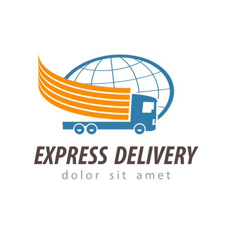 consignment: delivery. truck on a white background. illustration