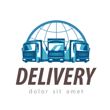 運輸: 交貨。卡車在白色背景上。矢量插圖