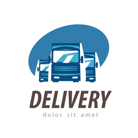 truck road: delivery. truck on a white background. vector illustration