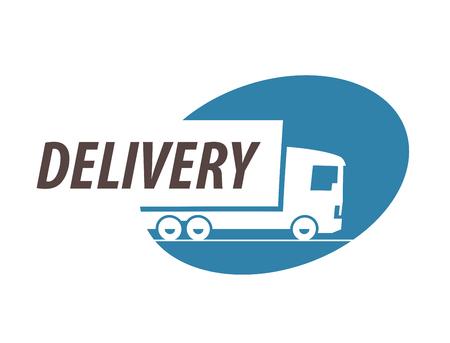 logos de empresas: la entrega. camión sobre un fondo blanco. ilustración vectorial