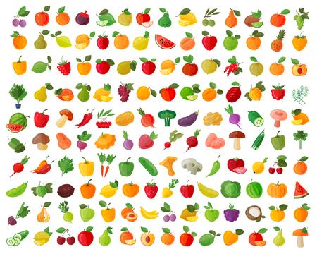 Frutas y verduras en un fondo blanco. ilustración vectorial Foto de archivo - 45945666