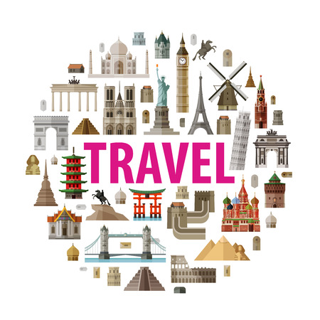 city sightseeings on white background. vector illustration
