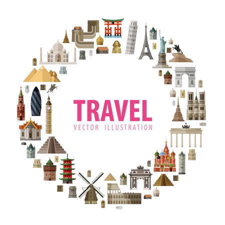 agencia de viajes: arquitectura histórica sobre un fondo blanco. ilustración vectorial Vectores