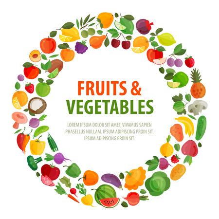 groenten en fruit op een witte achtergrond. vector illustratie Stock Illustratie