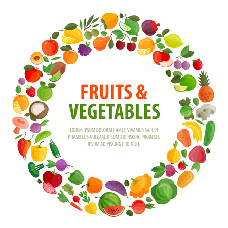 vegetables and fruits on a white background. vector illustration Ilustracja