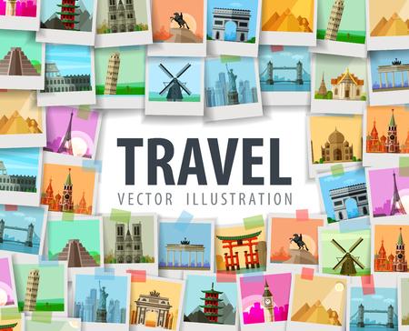 путешествие: город на белом фоне. векторные иллюстрации