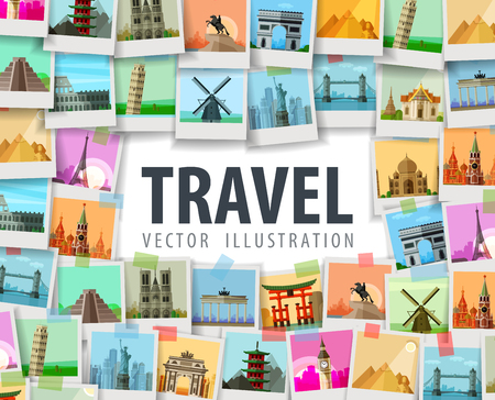 旅遊: 我市在白色背景上。矢量插圖