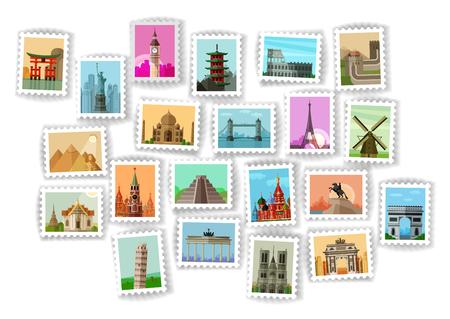 timbre postal: sellos de correos en el fondo blanco. ilustración vectorial
