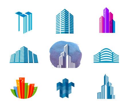 logotipo de construccion: la ciudad sobre un fondo blanco. ilustración vectorial Vectores