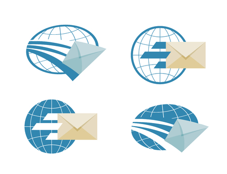 char: the flying envelope on a white background. vector illustration Illustration