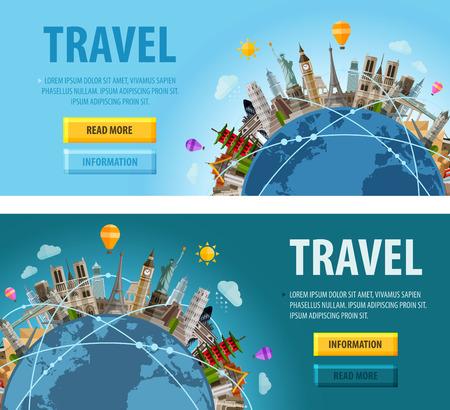 旅遊: 在世界地圖上的歷史建築。矢量插圖 向量圖像