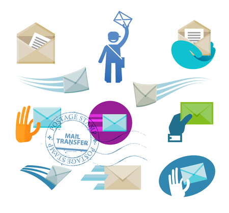 mail: envelope with letter on white background. vector illustration Illustration